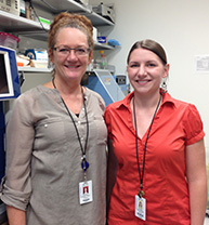 Monica Justice, Ph.D and graduate student Christie Buchovecky from Baylor College of Medicine.