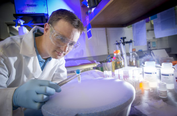 Steve Gray in his lab at UNC Chapel Hill